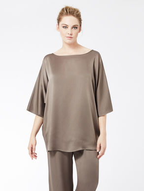 Loose-fit tunic in shiny frisottino