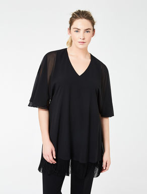 Georgette tunic with fringing