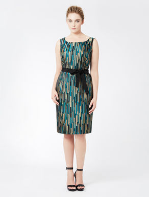 Yarn-dyed jacquard tube dress