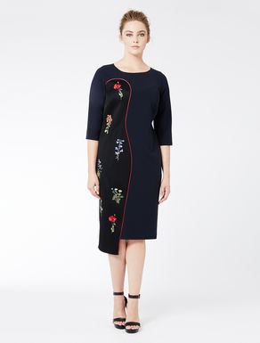 Tube dress with embroidered insert