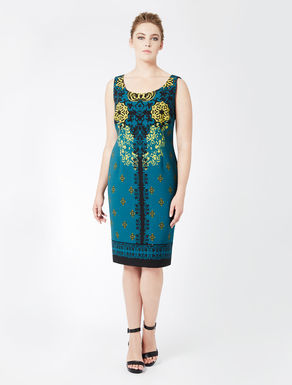 Printed double crêpe tube dress