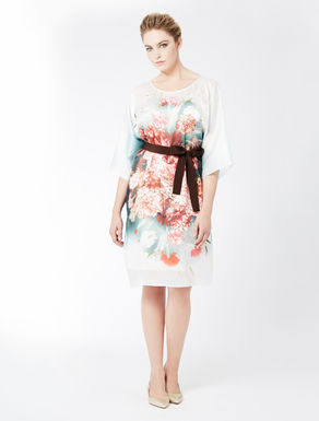 Printed satin creponne dress
