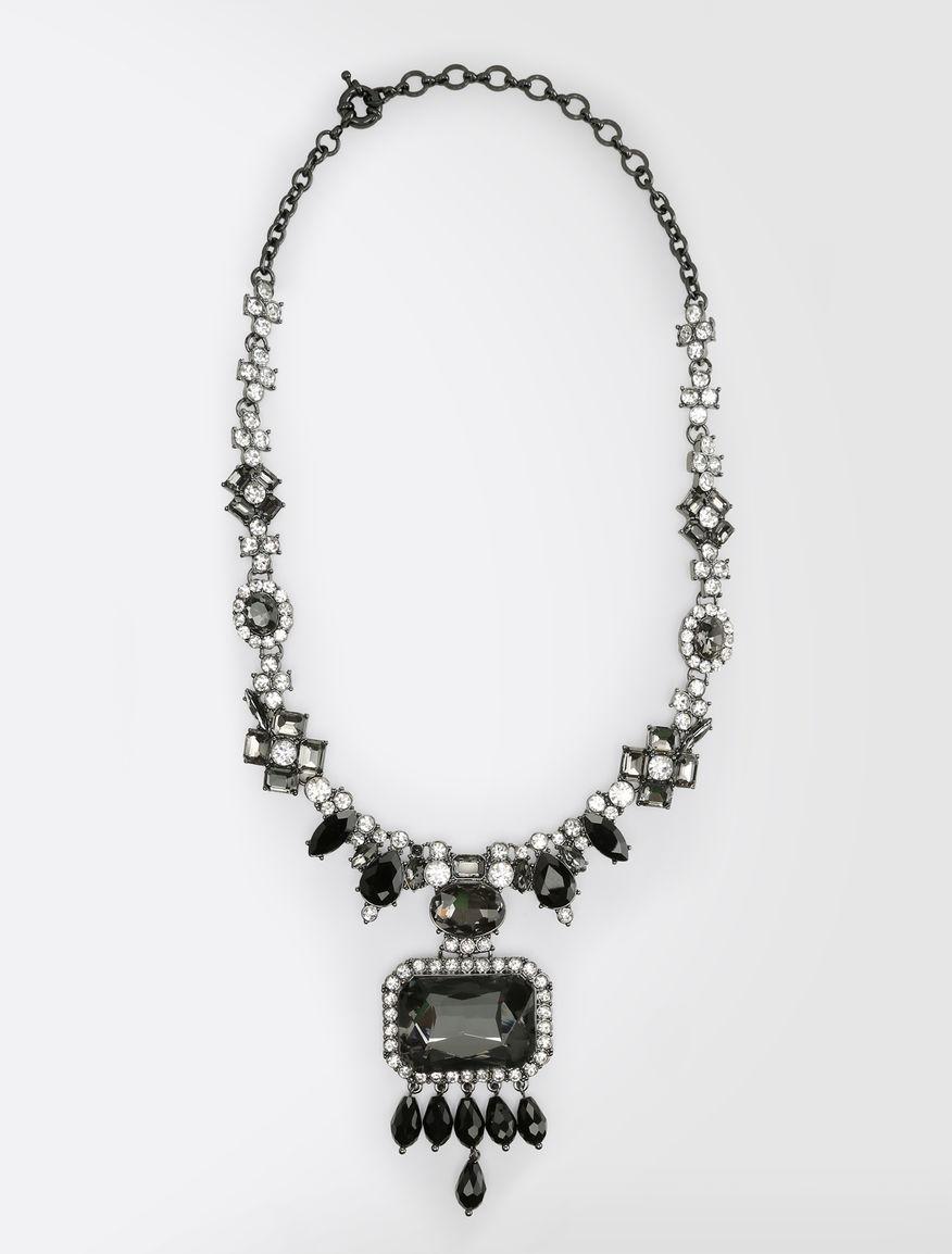Stone and rhinestone metal necklace