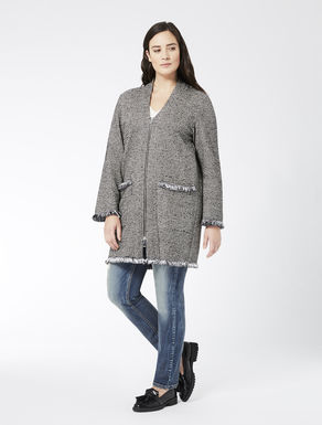 Long jersey cardigan with frayed edge