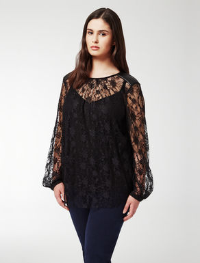 Imitation leather and lace tunic