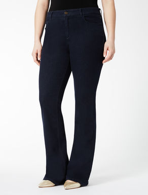 Super-stretch blue denim flare jeans