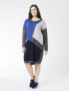 Colour-block dress in cashmere blend