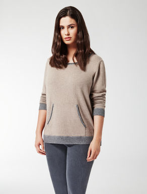 Two-tone cashmere blend jumper