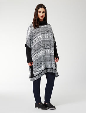 Long poncho in jacquard wool blend
