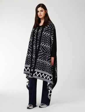 Oversize stole in wool blend jacquard