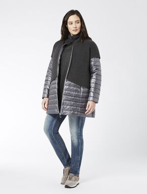 Down jacket with knitted insert