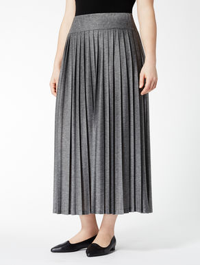Long pleated jersey skirt