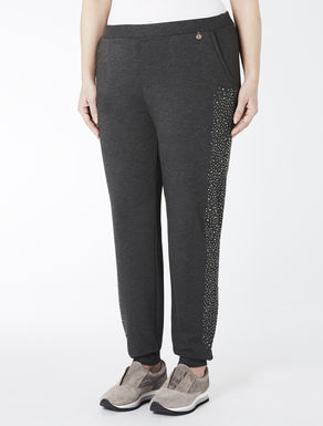 Fleece jogging trousers with crystals
