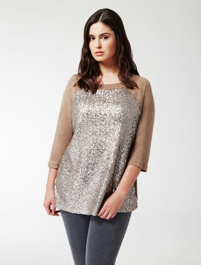 T-shirt in jersey stretch e paillettes