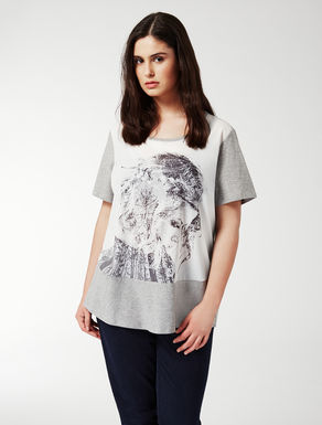 Printed jersey and fabric T-shirt