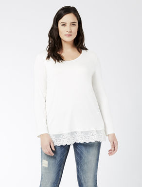 Jersey T-shirt with lace edging