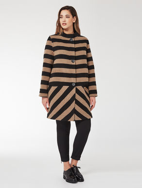 Reversible striped double-cloth coat