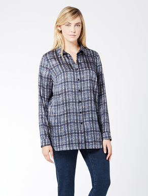 Twill shirt with check print