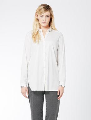 Stretch poplin shirt with embroidery