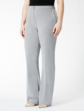 Flared blended fabric trousers
