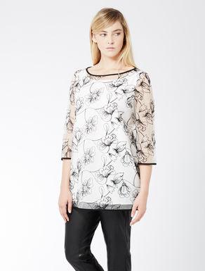 Embroidered silk organza shirt tunic
