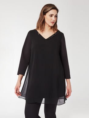 Long georgette shirt tunic with stones