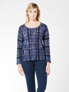 Pure wool jumper with check print