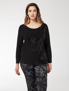Comfort viscose jumper with embroidery