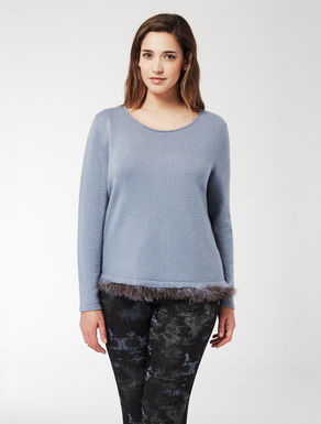 Lurex viscose jumper with feathers
