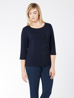 Embroidered stretch jersey t-shirt