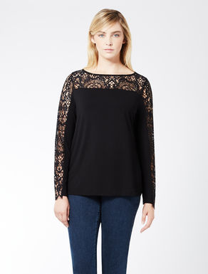 Jersey and Cornelly lace T-shirt