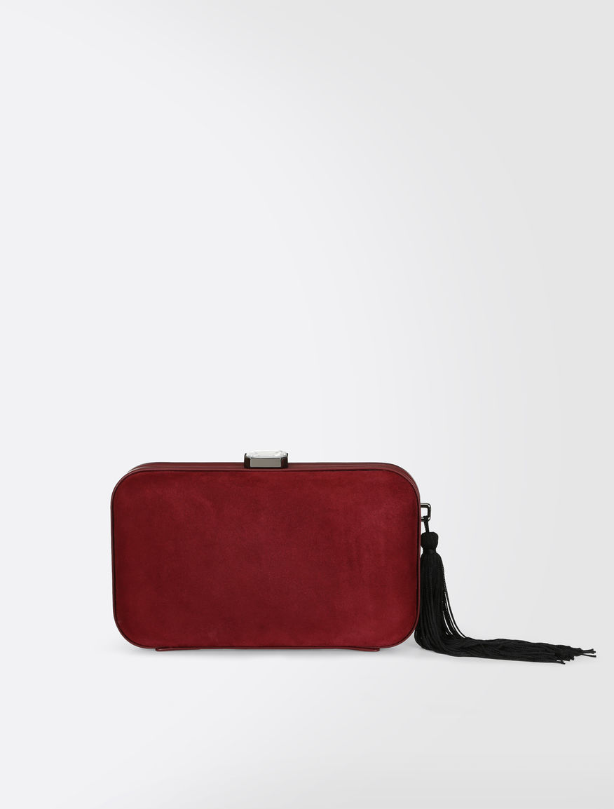 Suede clutch with tassels
