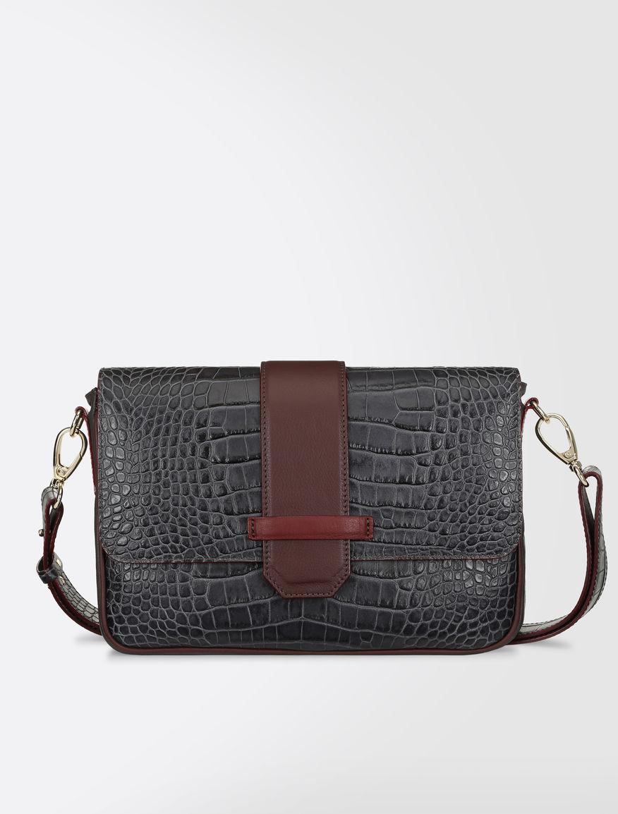 Crocodile-print calfskin shoulder bag