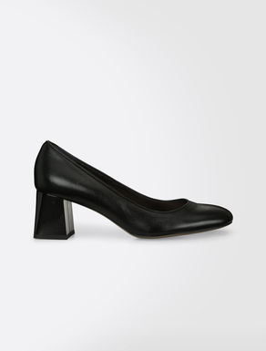 Opalescent leather court shoe