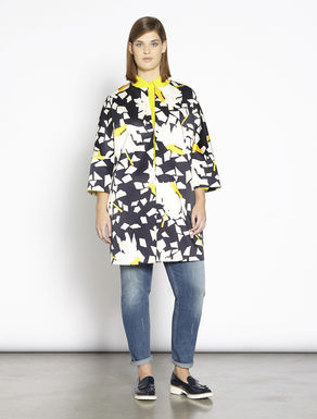 Printed stretch satin duster coat