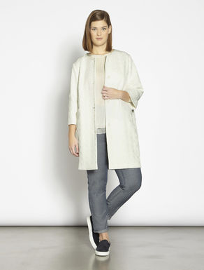 Stretch jacquard duster coat