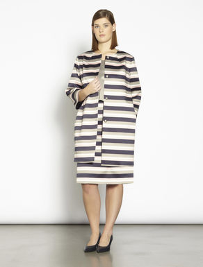 Duster coat in striped satin