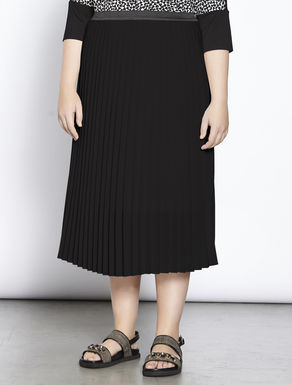 Pleated sablé midi skirt