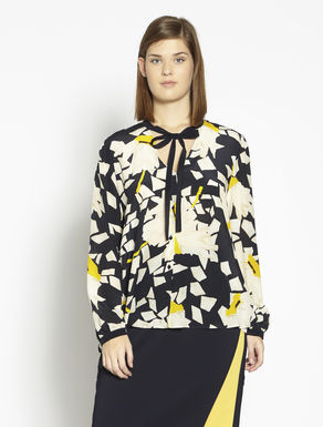 Printed silk blend shirt