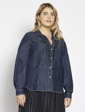 Denim shirt with ruching