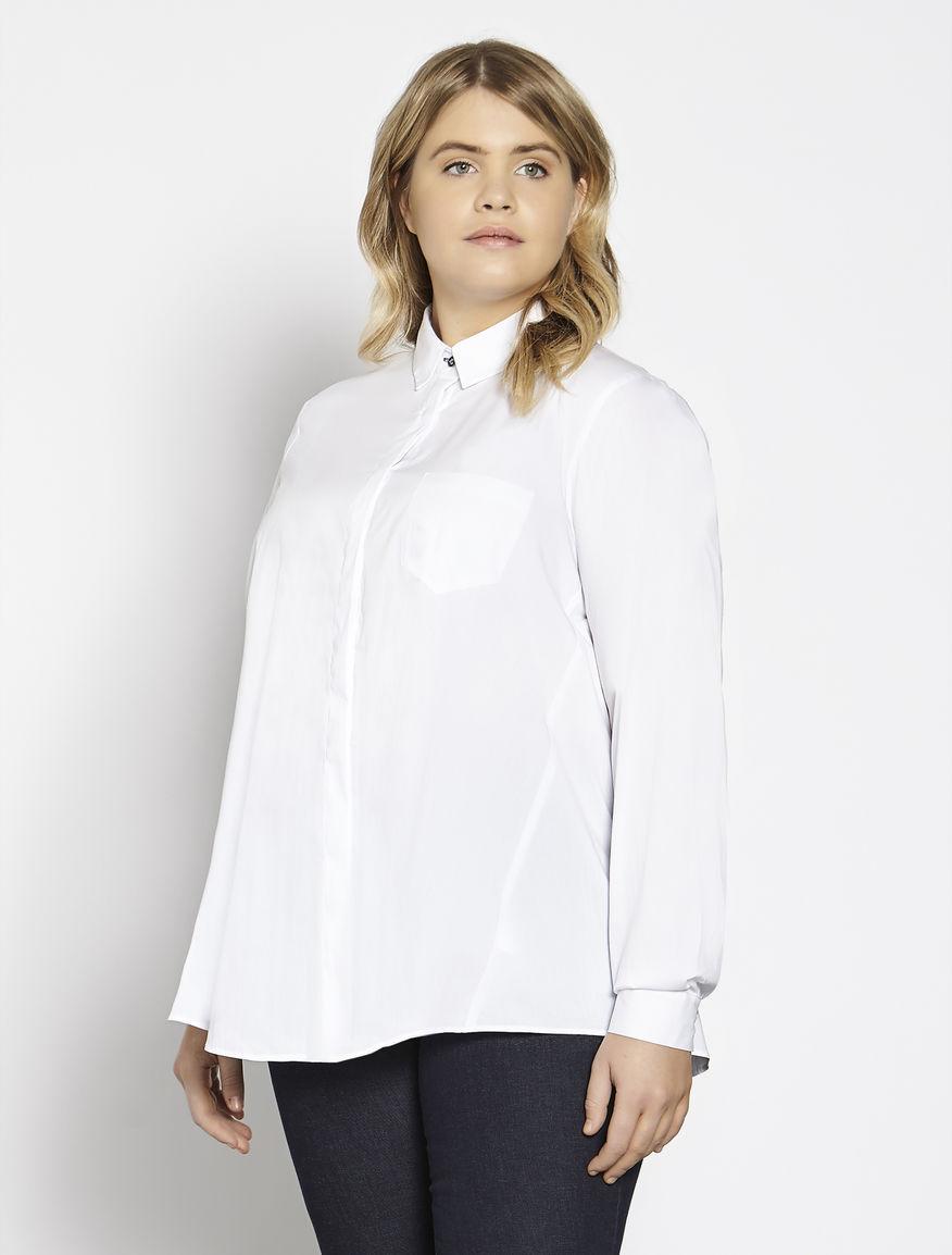 Oversize cotton and stretch nylon shirt