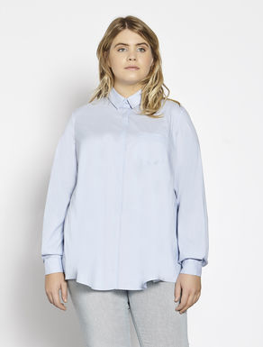 Oversize cotton and stretch nylon shirt