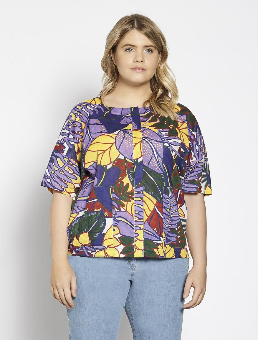 Printed cotton muslin shirt
