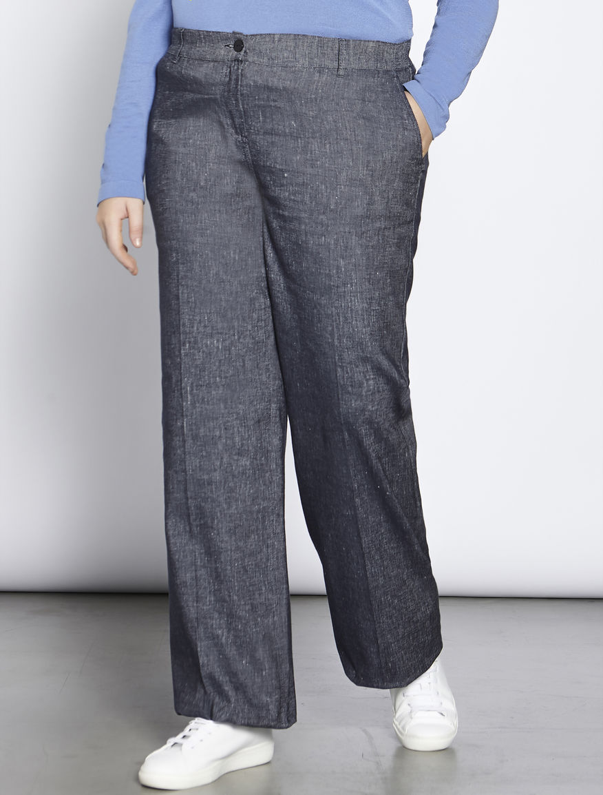 Denim-effect palazzo trousers