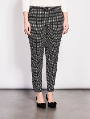 Printed structured stretch fabric trousers