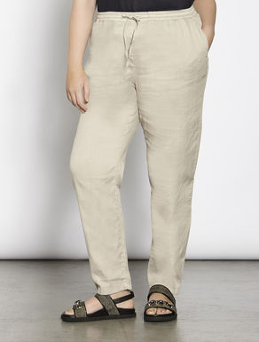 Stretch cotton linen trousers