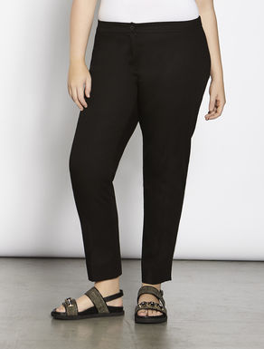 Stretch cotton piqué trousers