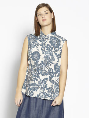 Printed stretch cotton canvas top