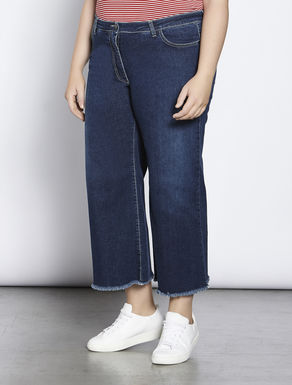 Fringed stretch denim jeans