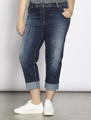 Blue stretch denim girlfriend jeans